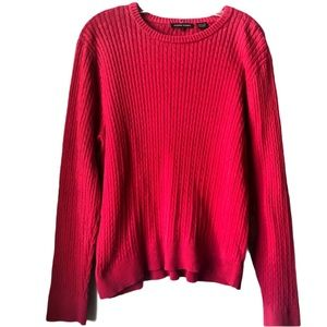 JEANNE PIERRE 100% Cotton Pink Ribbed Sweater  XL